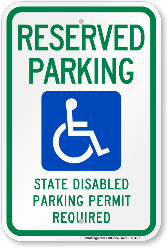 reserved parking ada handicap sign k 1467